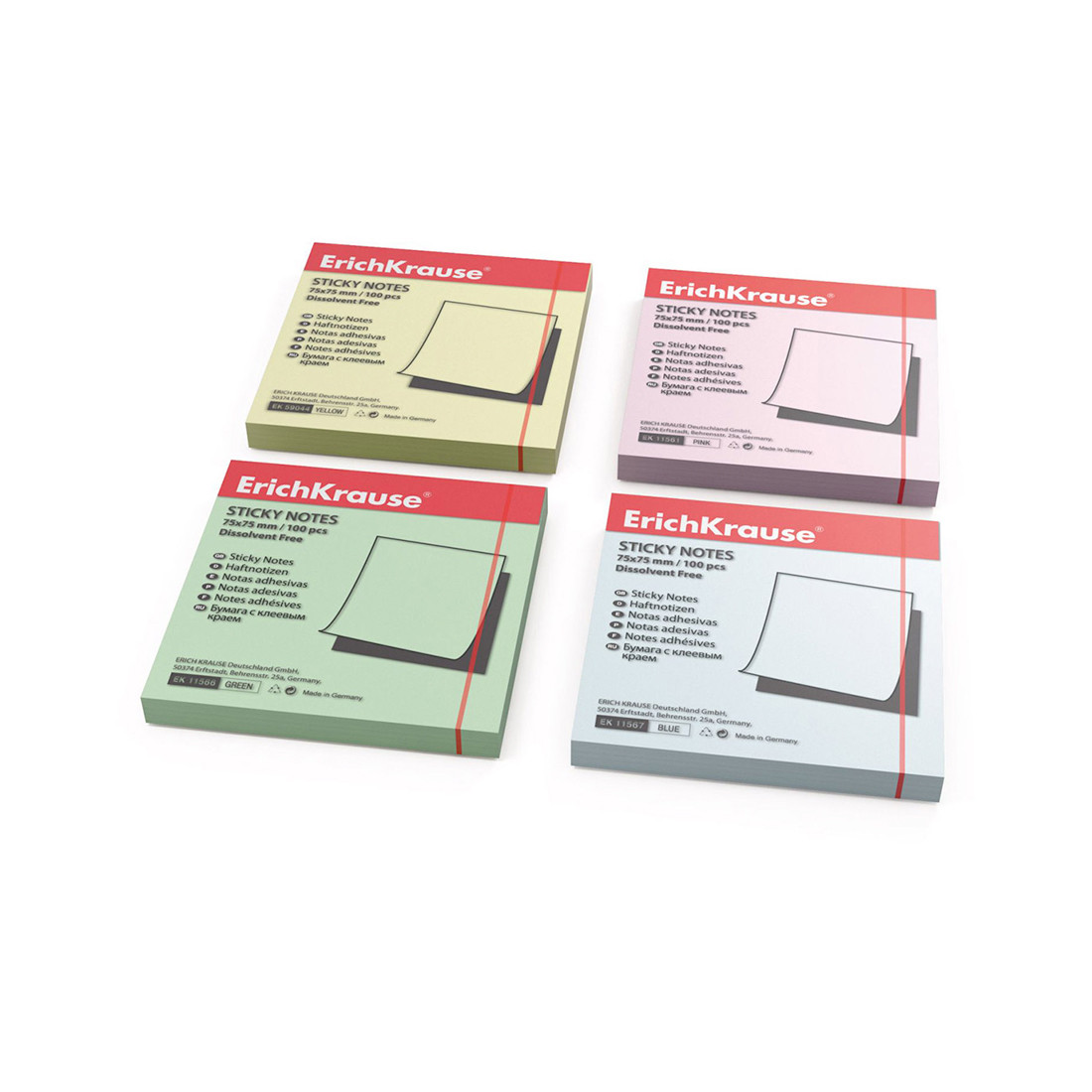 Бумага для заметок с клеевым краем ErichKrause®, 75х75 мм, 100 листов, в пленке 10 шт., зеленый