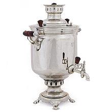 """Самовар на дровах (угольный), форма """"Банка"""", в никеле, 5л, труба в комплекте"""