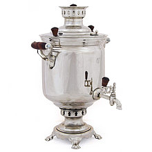 """Самовар на дровах (угольный), форма """"Банка"""", в никеле, 7л, труба в комплекте"""
