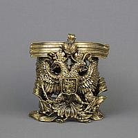 Двуглавый орел с Георгиевской лентой. Подстаканник из массивной бронзы.