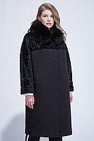 Пальто зимнее, 50-58, каракуль, песец, черное