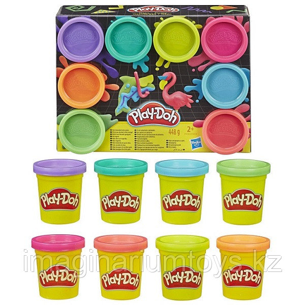 Пластилин детский Play-Doh набор 8 цветов неон