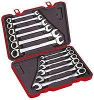 Набор универсальных комбинированных ключей с трещоткой и реверсом, метрический, 12 предметов