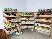 Овощные деревянные стеллажи витрины стенды для магазина деревянные стеллажи
