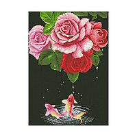 Набор алмазной вышивки «Карпы и розы»
