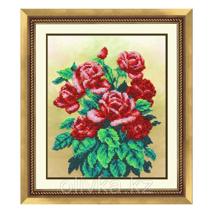 Набор для вышивки бисером «Букет алых роз»