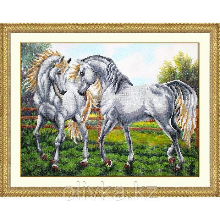 Набор для вышивания бисером «Пара белых лошадей»