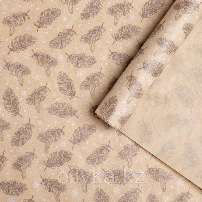 Бумага упаковочная крафтовая «Снежные ветви», 70 × 100 см
