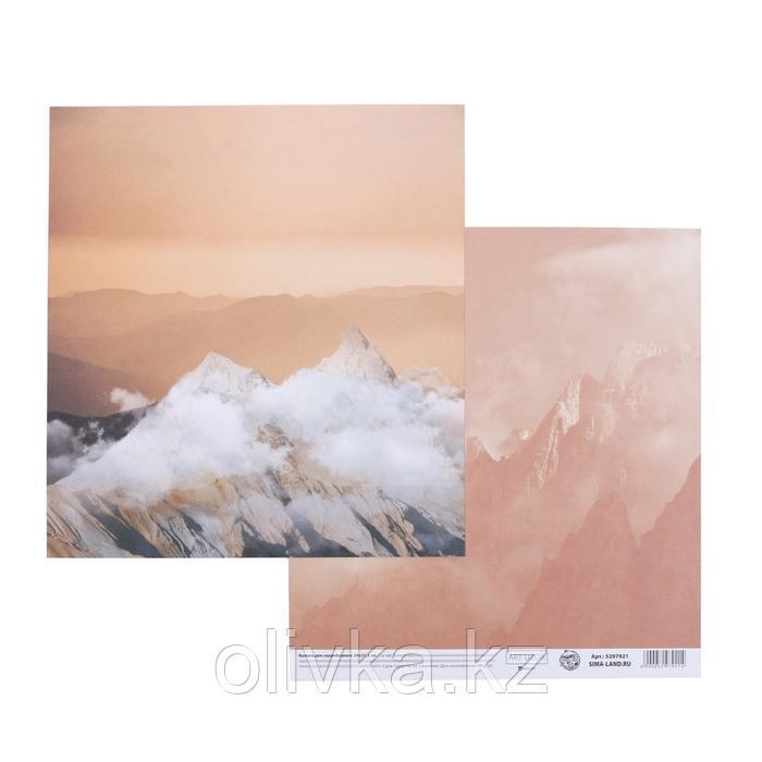 Бумага для скрапбукинга «Горы», 20 × 21,5 см, 180 г/м