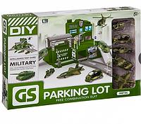 Набор автопаркинг, гараж с военными машинами