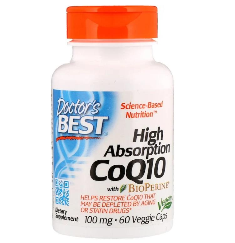 Doctor's Best, Легкоусвояемый CoQ10 с BioPerine, 100 мг, 60 растительных капсул
