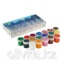 Краска акриловая, набор, 18 цветов х 20 мл, «Аква-Колор», 360 мл, художественно-оформительская, морозостойкая