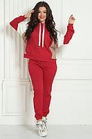 Женский осенний трикотажный красный спортивный большого размера спортивный костюм Solomeya Lux 734 56р.
