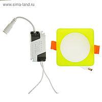 Светильник точечный светодиодный Luazon S-04 квадр., 7 Вт, 4000К, 220 В, 80х80 мм, зеленый