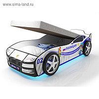Кровать машина «Турбо Полиция», подъёмный матрас, подсветка дна и фар, пластиковые колёса