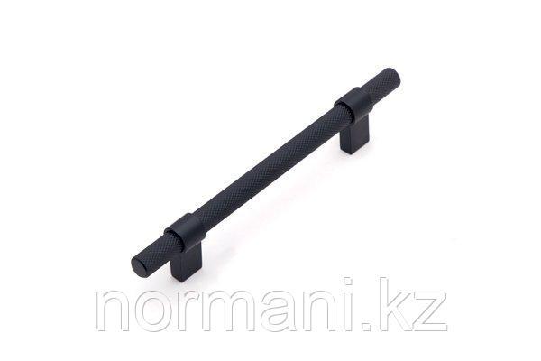 Мебельная ручка скоба 128мм, отделка черный матовый