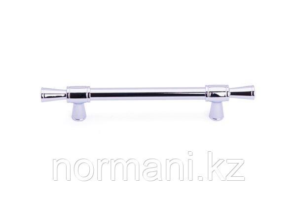 Мебельная ручка скоба 128мм, отделка хром