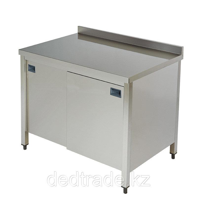 Стол рабочий со шкафом нержавеющая сталь размеры 1000*600*850 мм