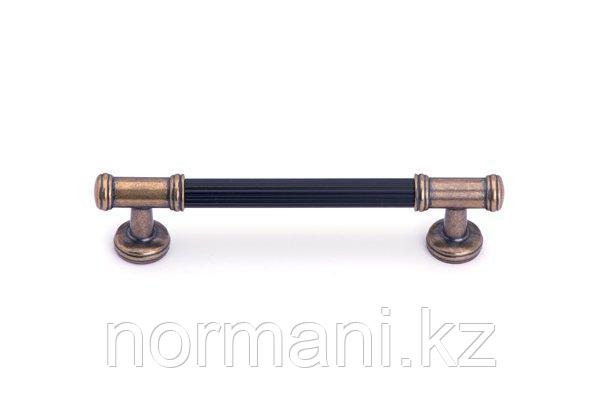 Мебельная ручка скоба 128мм, отделка бронза + черный