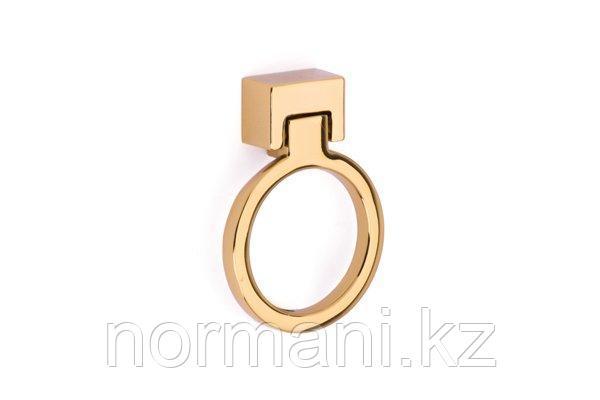 Мебельная ручка кольцо, отделка золото глянец