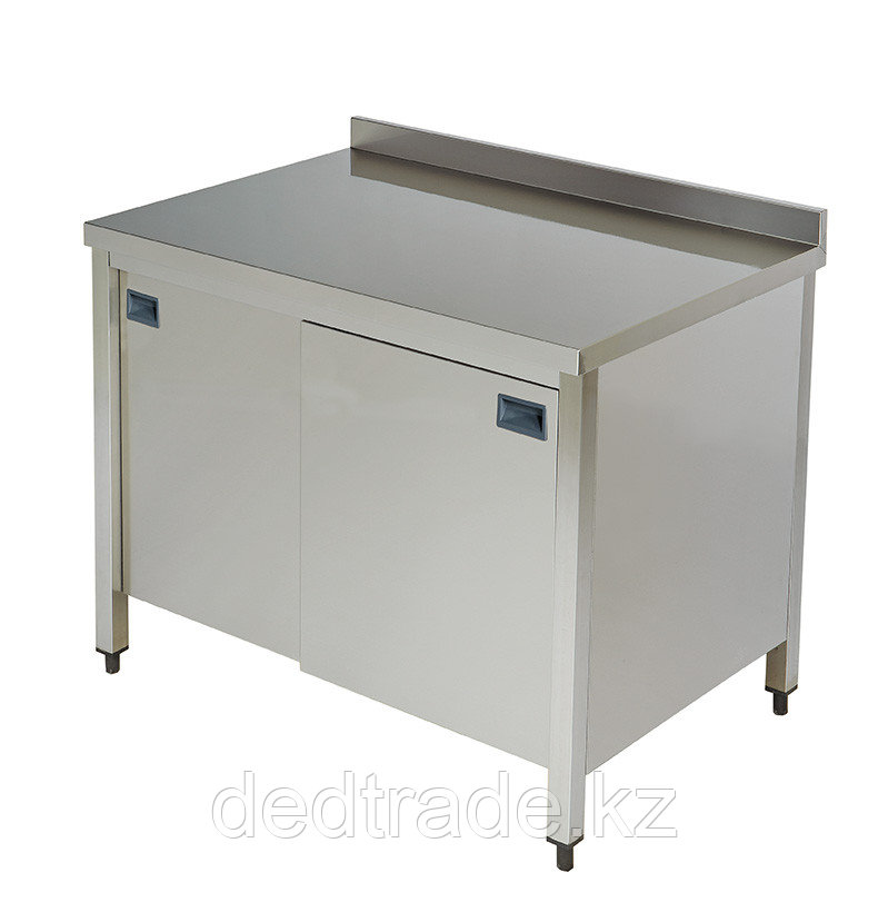 Стол рабочий со шкафом нержавеющая сталь размеры 1600*600*850 мм