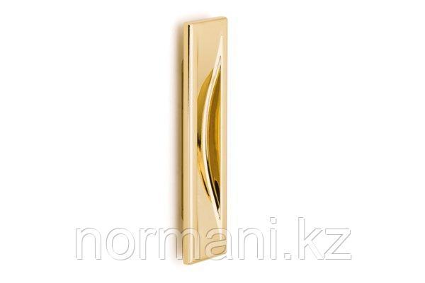Мебельная ручка врезная, отделка золото глянец