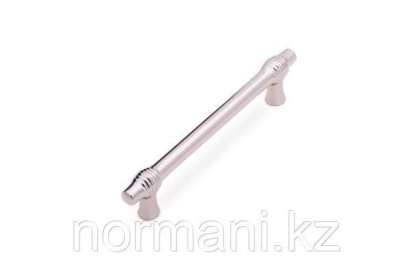 Мебельная ручка скоба, замак, размер посадки 128мм, отделка никель глянец