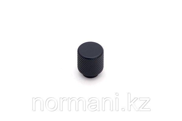 Мебельная ручка кнопка, отделка черный матовый