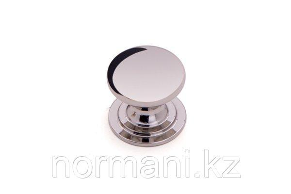 Мебельная ручка кнопка, отделка никель глянец