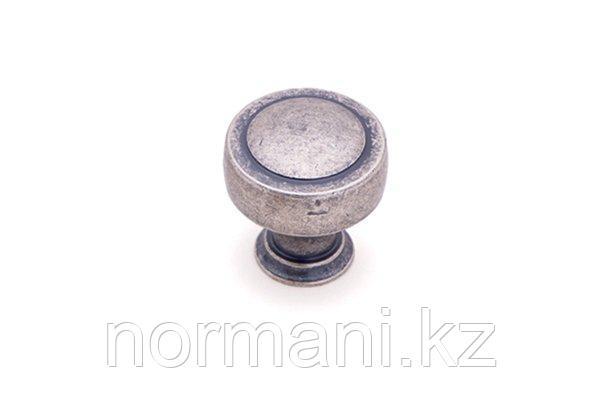 Мебельная ручка кнопка, отделка серебро