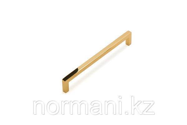 Мебельная ручка скоба 160мм, отделка золото глянец