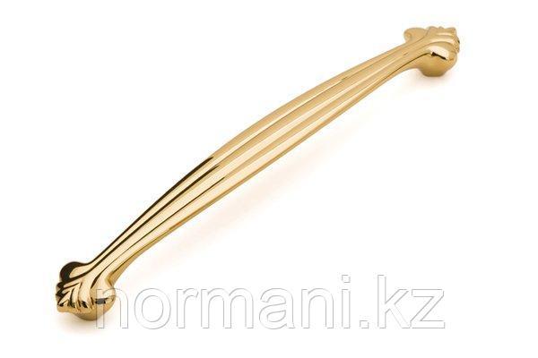 Мебельная ручка скоба 192мм, отделка золото глянец