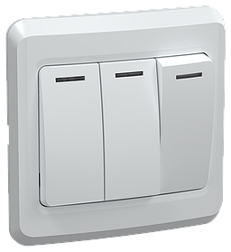 ВС10-3-0-ВБ Выключатель 3 клавишный 10А ВЕГА белый ИЭК