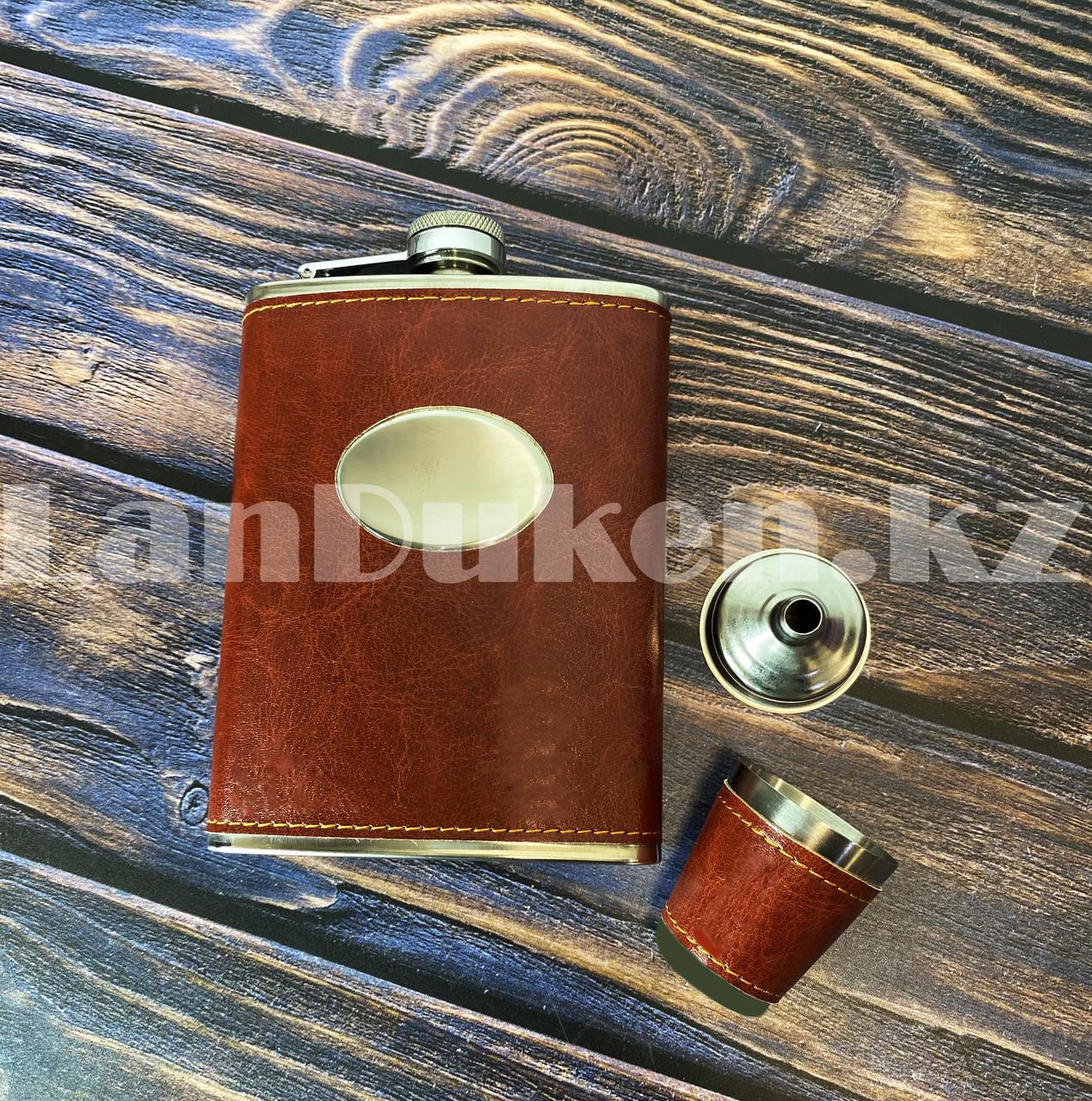 Мужской набор (фляга 250 мл фляга 100 мл рюмка воронка ручка) в подарочной коробке - фото 4