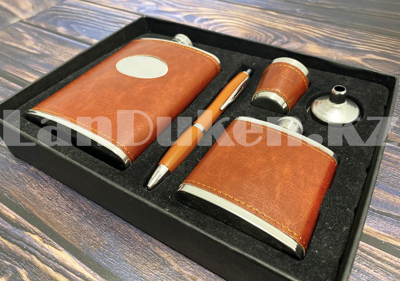 Мужской набор (фляга 250 мл фляга 100 мл рюмка воронка ручка) в подарочной коробке - фото 7