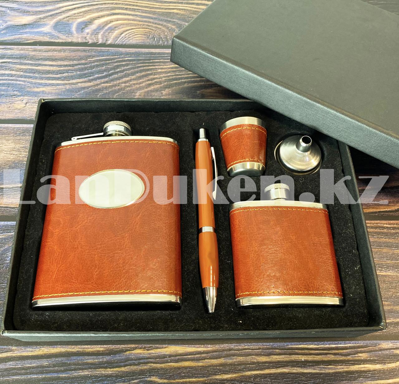 Мужской набор (фляга 250 мл фляга 100 мл рюмка воронка ручка) в подарочной коробке - фото 9