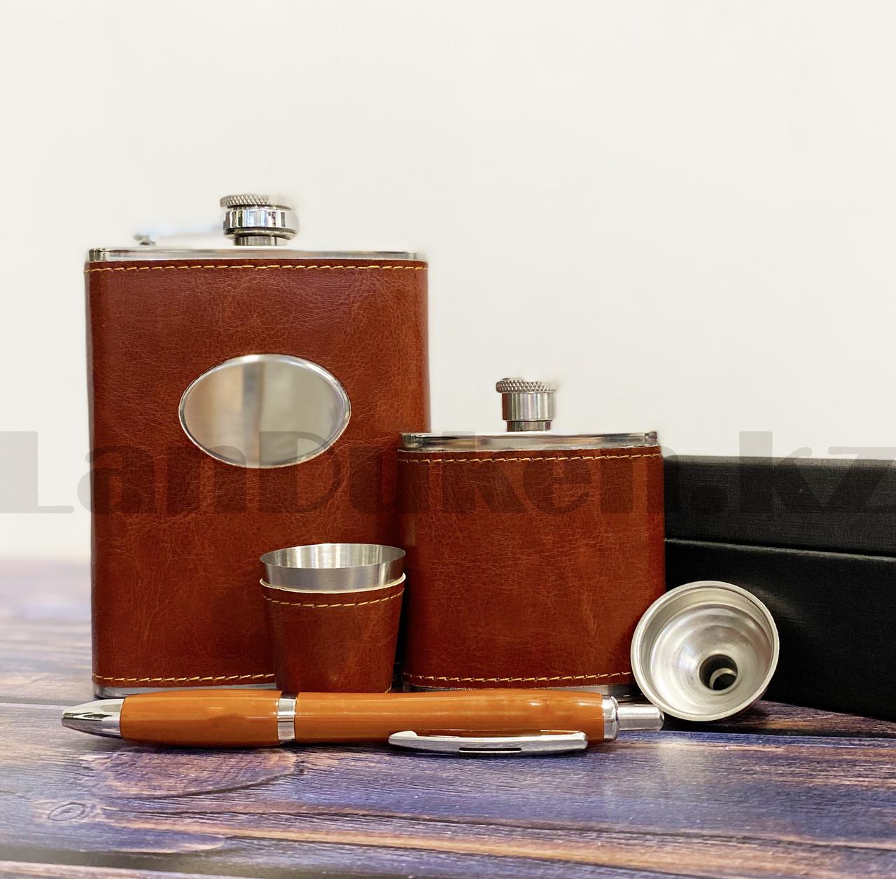 Мужской набор (фляга 250 мл фляга 100 мл рюмка воронка ручка) в подарочной коробке - фото 5