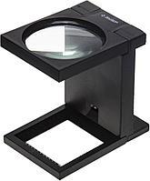 """Лупа ЗУБР """"МАСТЕР"""" складная на подставке, светодиодная подсветка, 3 кратное увеличение, диаметр 90мм (арт. 40542-90)"""