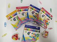 Карандаши восковые, 12 цветов, Yalong, в картонной коробке, «Пеликан»,