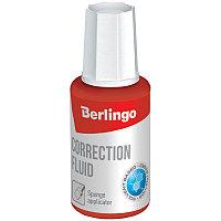 Корректирующая жидкость Berlingo, 20мл, на химической основе, с губчатым аппликатором (арт. 256293)