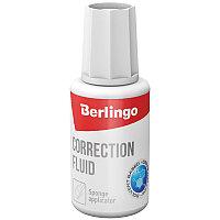 Корректирующая жидкость Berlingo, 20мл, спиртовая, с губчатым аппликатором (арт. 136791)