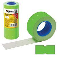 Этикет-лента 21х12 мм, прямоугольная, зеленая, комплект 5 рулонов по 600 шт., BRAUBERG, 123571 (арт. 123571)