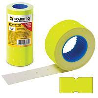 Этикет-лента 21х12 мм, прямоугольная, желтая, комплект 5 рулонов по 600 шт., BRAUBERG, 123569 (арт. 123569)