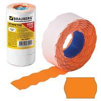 Этикет-лента 22х12 мм, волна, оранжевая, комплект 5 рулонов по 800 шт., BRAUBERG, 123574 (арт. 123574)