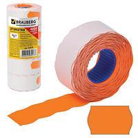 Этикет-лента 26х12 мм, волна, оранжевая, комплект 5 рулонов по 800 шт., BRAUBERG, 123578 (арт. 123578)