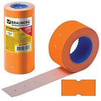 Этикет-лента 21х12 мм, прямоугольная, оранжевая, комплект 5 рулонов по 600 шт., BRAUBERG, 123570 (арт. 123570)