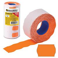 Этикет-лента 26х16 мм, волна, оранжевая, комплект 5 рулонов по 800 шт., BRAUBERG, 123582 (арт. 123582)