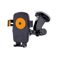"""Держатель Perfeo 502 One Touch, для телефона/навигатора до 5"""", автомобильный, крепление на стекло, поворот, изменяемый угол наклона, черно-оранжевый,"""