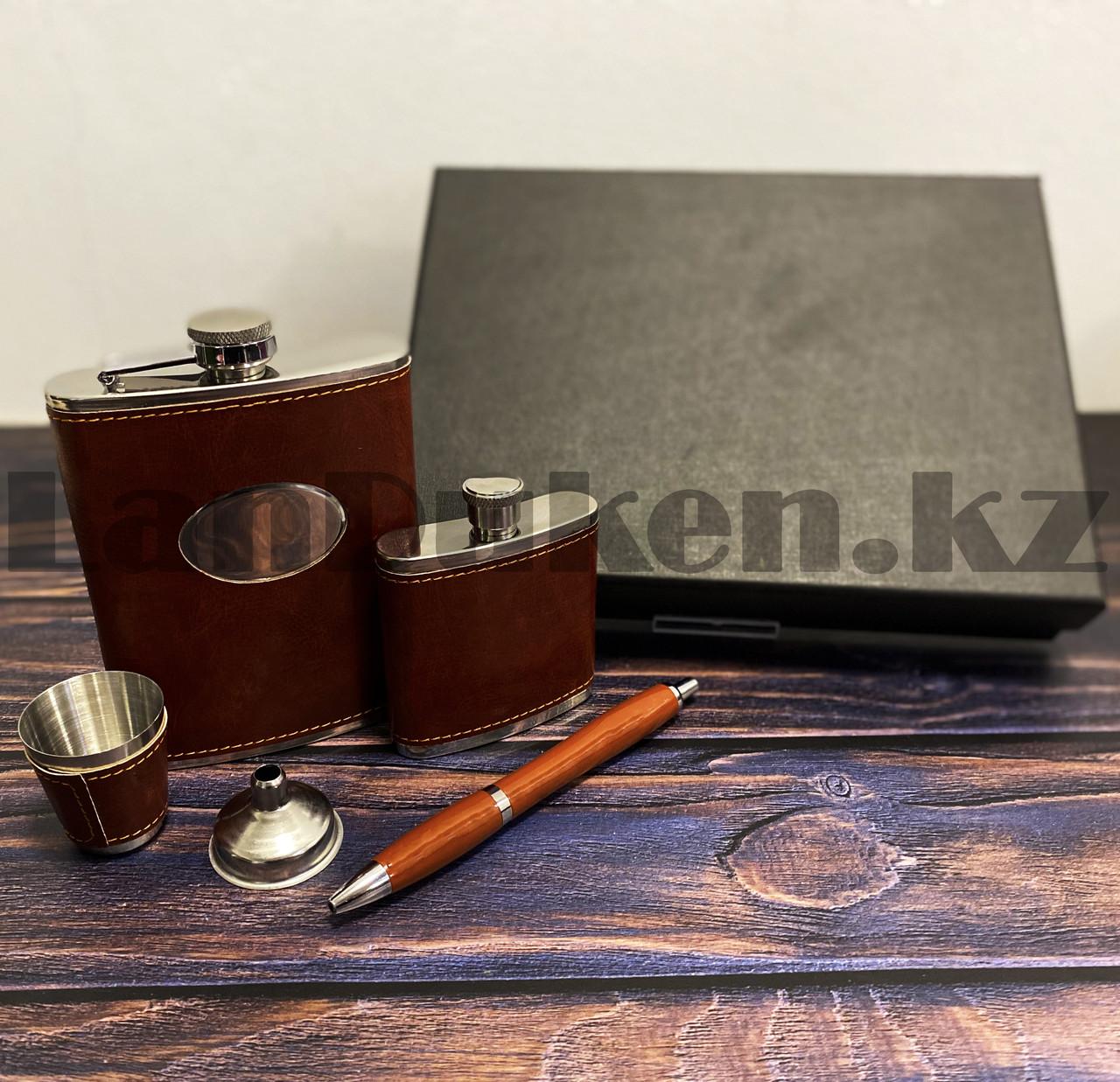 Мужской набор (фляга 250 мл фляга 100 мл рюмка воронка ручка) в подарочной коробке - фото 10