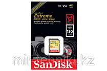 КАРТА ПАМЯТИ SANDISK EXTREME SDXC 64GB V30 UHS-I (U3) 150MB/S